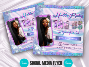 Holographic Tag Us In Selfies Instagram Flyer Template