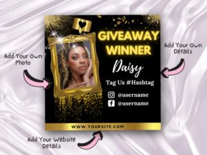 Gold Giveaway Winner Instagram Flyer Template