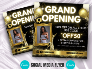 Gold Grand Opening Canva Flyer Template
