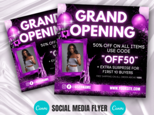 Purple Grand Opening Flyer Canva Template