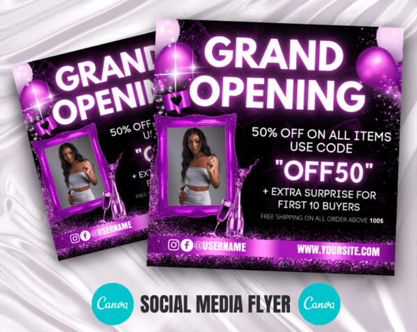 purple grand opening flyer