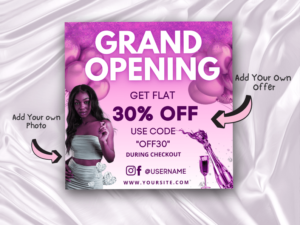 Hot Pink Grand Opening Flyer Template