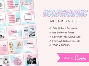 30 Holographic Instagram Post Templ...