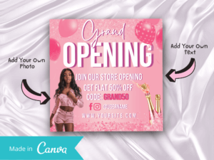 Baby Pink Grand Opening Canva Flyer Template