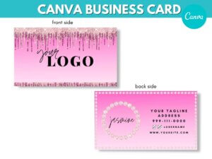 Pink Dripping Business Card Design,...