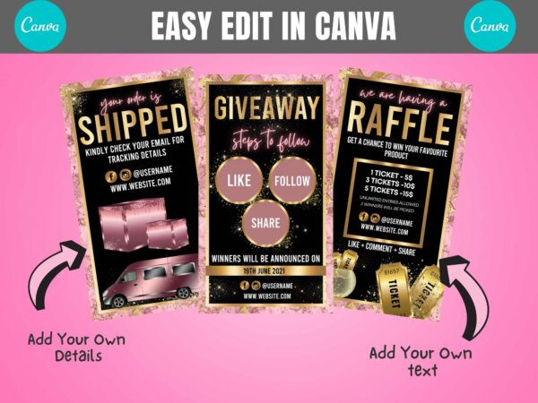 giveaway story, raffle story, order shipped story template