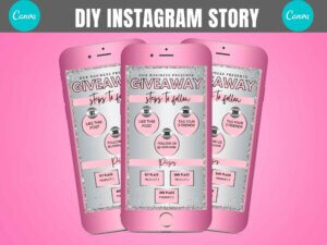Silver Baby Pink Giveaway Instagram Story Template Canva