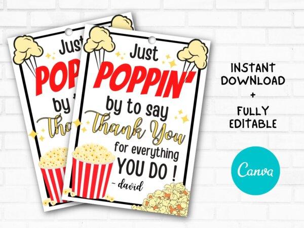 popcorn thankyou gift tag
