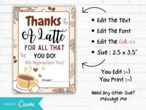 Brown Thanks A Latte Coffee Gift Ta...