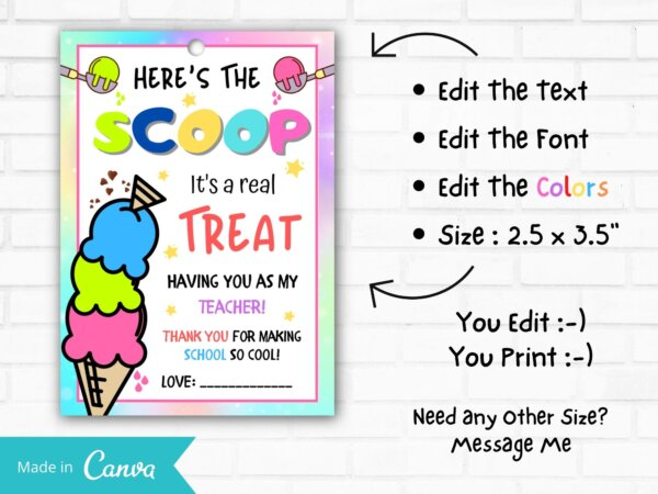 here's the scoop printable teacher appreciation printable