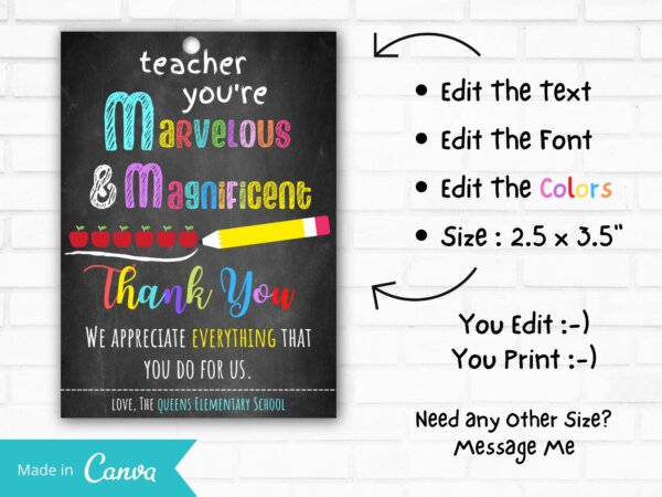 Teacher's appreciation gift tag printable