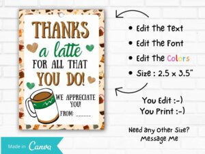 Thanks A Latte Coffee Gift Tag...