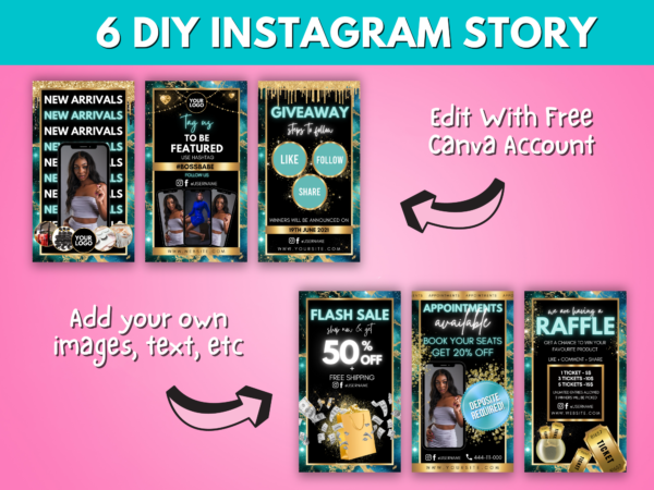 6 Gold & Turquoise Instagram Story Template Canva
