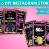 6 Gold & Purple Instagram Story Template Canva