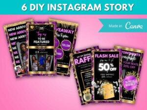 6 Gold & Purple Instagram Stor...