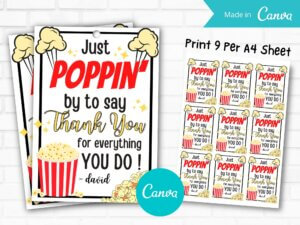Popcorn Gift Tag For Nurses, Employ...