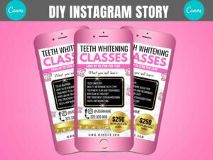 Pink Gold Teeth Whitening Instagram Story Template, Canva