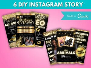 6 Gold & Black Instagram Story Template Canva