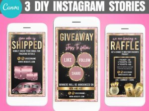 Pink Gold Instagram Story Set of 3, Canva