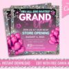 neon grand opening, store opening flyer