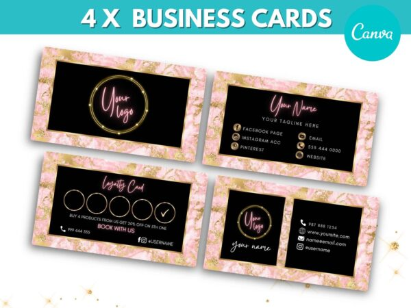 pink gold business cards