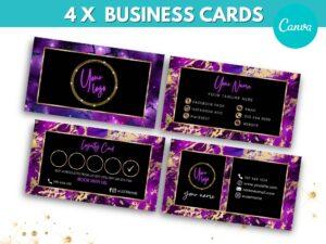 4 Purple Gold Business Cards Templa...
