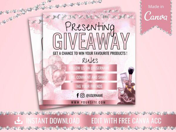 rose gold instagram giveaway flyer