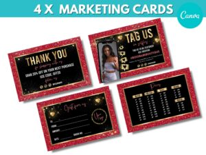 4 Red Gold Marketing Cards Tem...