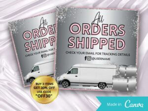 Silver And Baby Pink Order Shipped Instagram Flyer, Canva