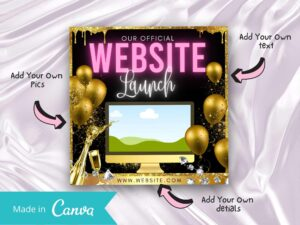Pink And Gold Website Launch Instagram Flyer, Canva