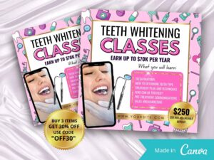 Teeth Whitening Instagram Flyer, Tooth Whitening Classes, Tooth Whitening Course Flyer Template