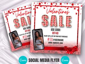 Valentines Day Sale Instagram Flyer, Lash Flyer, Boutique Flyer, hair Flyer, Canva Flyer