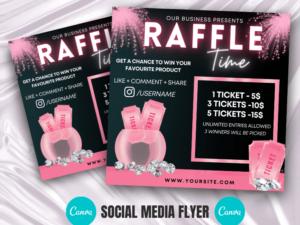Baby Pink Raffle Giveaway Instagram Flyer, Canva