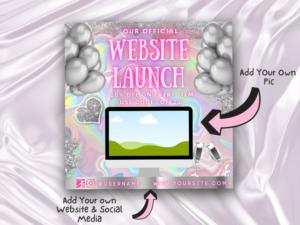 Pink Holographic Website Launch Instagram Flyer, Canva