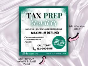 Green Tax Prep Flyer, Tax Seas...