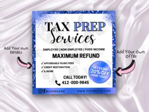 Blue Tax Prep Flyer, Tax Seaso...