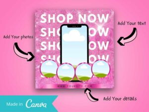 Hot Pink Shop Now Instagram Sale Flyer, Canva