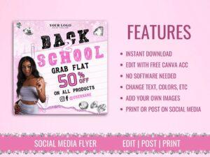 Pink Back To School Sale Instagram Flyer, Canva