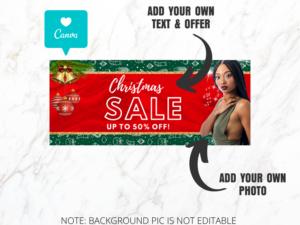 Christmas Sale Web Banner, Website Banner Template, Canva Banner