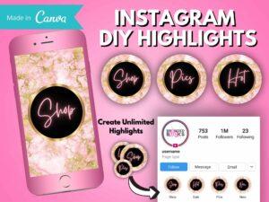 pink gold instagram highlights
