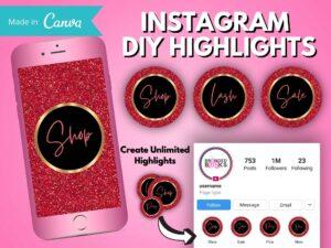 DIY Red Gold Instagram Story H...