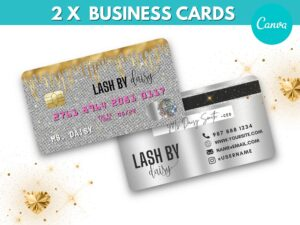 Pink Silver Credit Card Styled Busi...