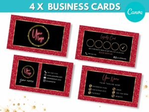 4 Red Gold Business Cards Template ...