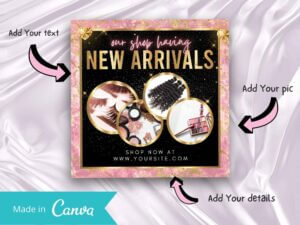 Baby Pink Gold New Arrivals Instagram Flyer, Canva