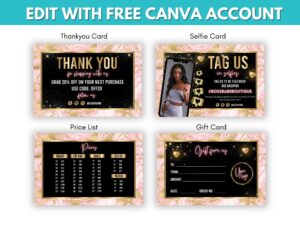 4 Baby Pink Gold Marketing Cards Te...