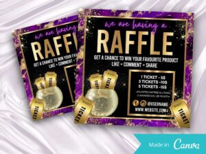Purple Gold Raffle Giveaway Instagram Flyer, Canva