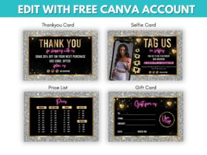 4 Silver Pink Marketing Cards Templ...