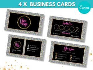 4 Silver Pink Business Cards Templa...
