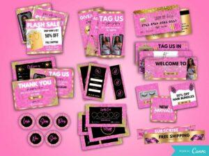 Hot Pink Full Hair/Lash/Boutique Branding Kit, Canva