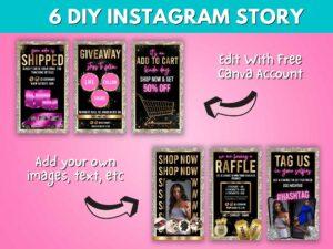 DIY Pink Silver Instagram Stor...